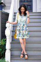 sky blue floral JYJZ dress - light blue chambray American Eagle shirt