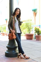 tawny satchel Anthropologie bag - navy denim Current Elliot jeans