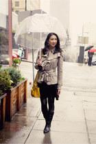 black Blondo boots - black asos dress - dark khaki ruffles Anthropologie jacket
