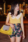 Yellow-bag-black-floral-print-shorts-yellow-top