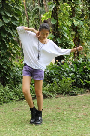 black doc martens boots - white cropped new look shirt - deep purple shorts - bl
