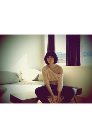 3d mesh flower Zara jumper - jersey harem Vero Moda pants - H&M ring - Bershka w