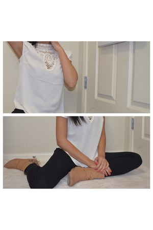 white Forever 21 blouse - light brown Mossimo boots - black Forever 21 jeans