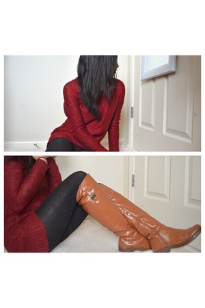 crimson Charlotte Russe sweater - tawny Ellie boots