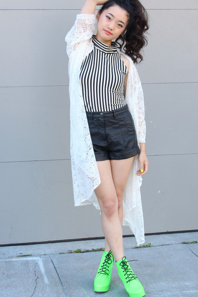 American Apparel shirt - pleather Forever 21 shorts