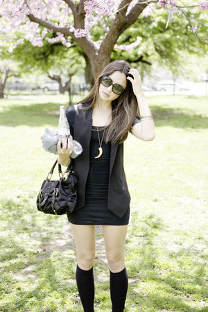 black American Apparel dress - JCrew socks - botkier - black Zara vest
