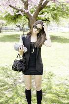 black American Apparel dress - JCrew socks - botkier - black Zara vest
