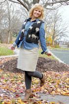 light brown Payless boots - sky blue H&M shirt