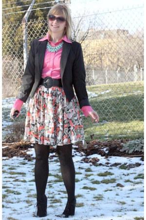 peach Anthropologie skirt - black Target boots - black Target blazer