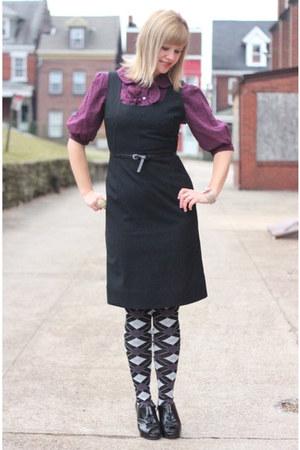black Madden Girl shoes - black Delias tights - amethyst Macys blouse