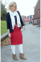 red Anthropologie skirt - light brown Payless boots - navy thrifted shirt
