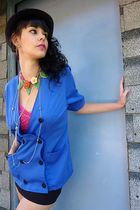blue vintage from cloudnine blazer - green vintage necklace - black thrifted ski