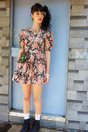black vintage bag - black doc martens shoes - orange Laura Ashley dress