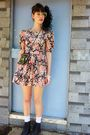 Orange-laura-ashley-dress-black-vintage-purse-white-socks-beige-bracelet-