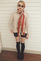 red velvet Dr Martens boots - H&M sweater - vintage liz claiborne sunglasses