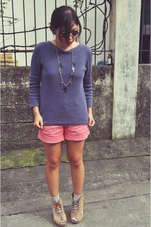 Bayo shorts - Gold Dot shoes - thrifted sweater - Anagon Collection necklace