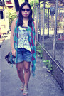 Jellybean-scarf-jellybean-shorts-zara-top-cmg-sandals