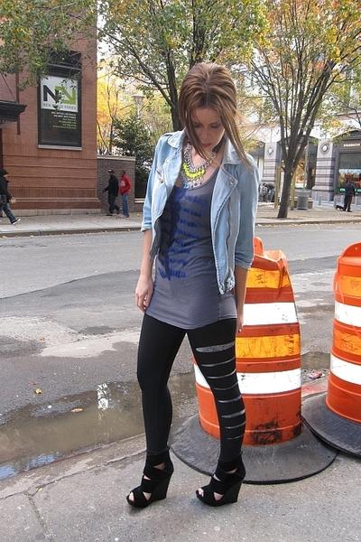 blue Zara jacket - gray top - black DIY leggings - blue Plan B leggings - black