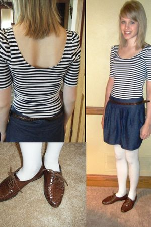 blue Urban Outfitters shirt - blue Forever 21 skirt - white moms closet tights -