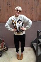 camel suede Kelsi Dagger wedges - dark khaki thrifted vintage sweater