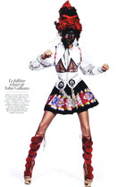 brick red GALLIANO boots - black GALLIANO skirt - white GALLIANO jacket - silver