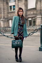 green bag - forest green shoes - green dress - turquoise blue blazer