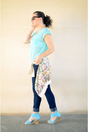 navy Primark jeans - aquamarine Mulaya shirt
