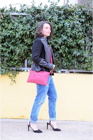black shein shirt - aquamarine BLANCO jeans - ruby red Primark bag
