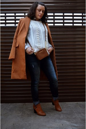 burnt orange Sheinside coat - burnt orange suiteblanco boots