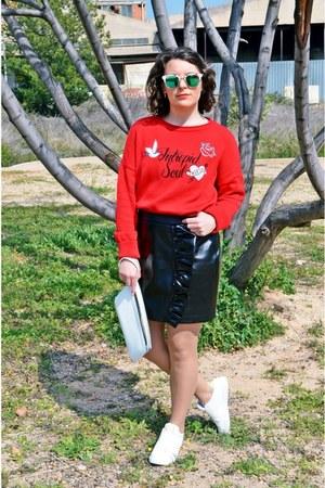 ruby red Stradivarius sweatshirt - black Stradivarius skirt