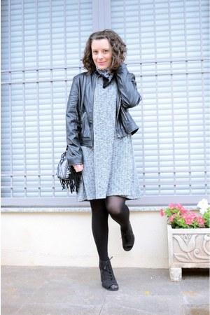 black faux leather shein jacket - heather gray New Yorker dress