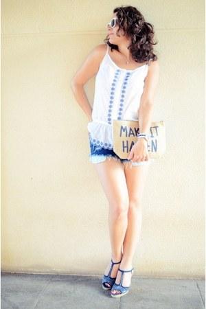 white Lidl shirt - navy carlos reula sandals