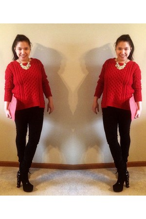 Forever21 sweater - hotnscandalous bag - spiked booties PINKBASIS heels