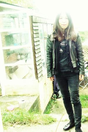 black jacket - black Urban Outfitters cardigan - Topshop t-shirt - Vintage Versa