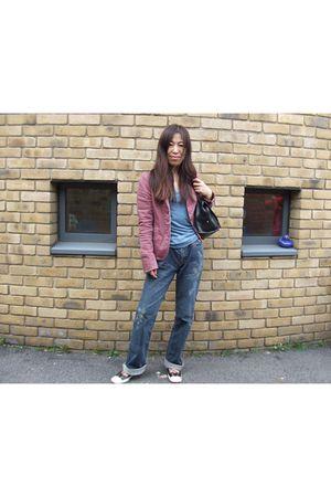 blue abercrombie and fitch vest - purple Marc Jacobs jacket - blue DKNY jeans -