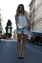 silver H&M sweater - H&M shorts - black Zara heels