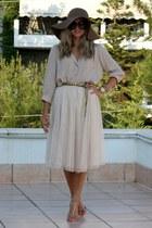 Bershka hat - nude H&M shirt - Prada sunglasses - nude Zara heels