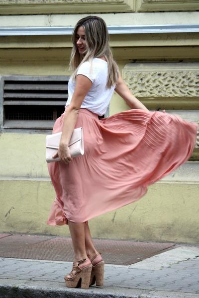 nude H&M bag - white H&M t-shirt - peach H&M skirt