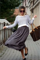 gray Zara skirt - H&M sweater - Louis Vuitton bag - Prada sunglasses