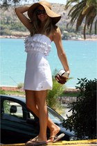white Sugarfree dress - Bershka hat - Prada sunglasses