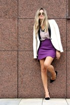 purple Zara skirt - off white Zara blazer - H&M shirt - Ray Ban sunglasses