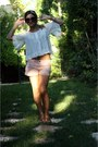 Light-pink-zara-shorts-prada-sunglasses-white-h-m-blouse