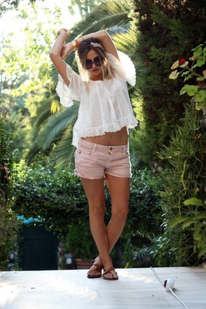 light pink Zara shorts - Prada sunglasses - white H&amp;M blouse