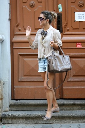H&M shirt - Barbour scarf - H&M shorts - Prada sunglasses