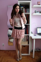 light pink Mohito jacket - eggshell H&M top - light pink OASAP skirt