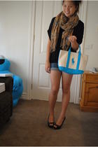 black top - blue shorts - blue Ralph Lauren purse - brown i wish it was burberry