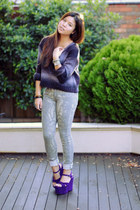 deep purple zu wedges - tan Witchery jeans - violet Dotti sweater