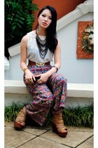 white Barkins top - maroon print vintage pants - camel Jeffrey Campbell wedges