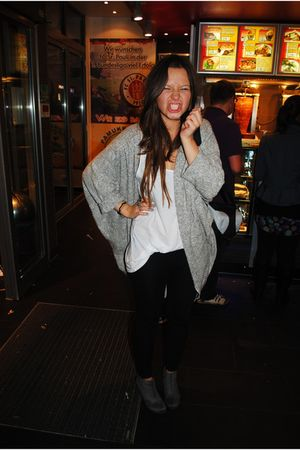 gray American Apparel cardigan - gray H&M shoes