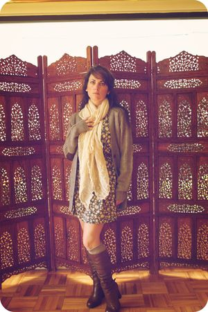 brown Pull and Bear sweater - thrifted dress - scarf - Urban Outfitters socks -